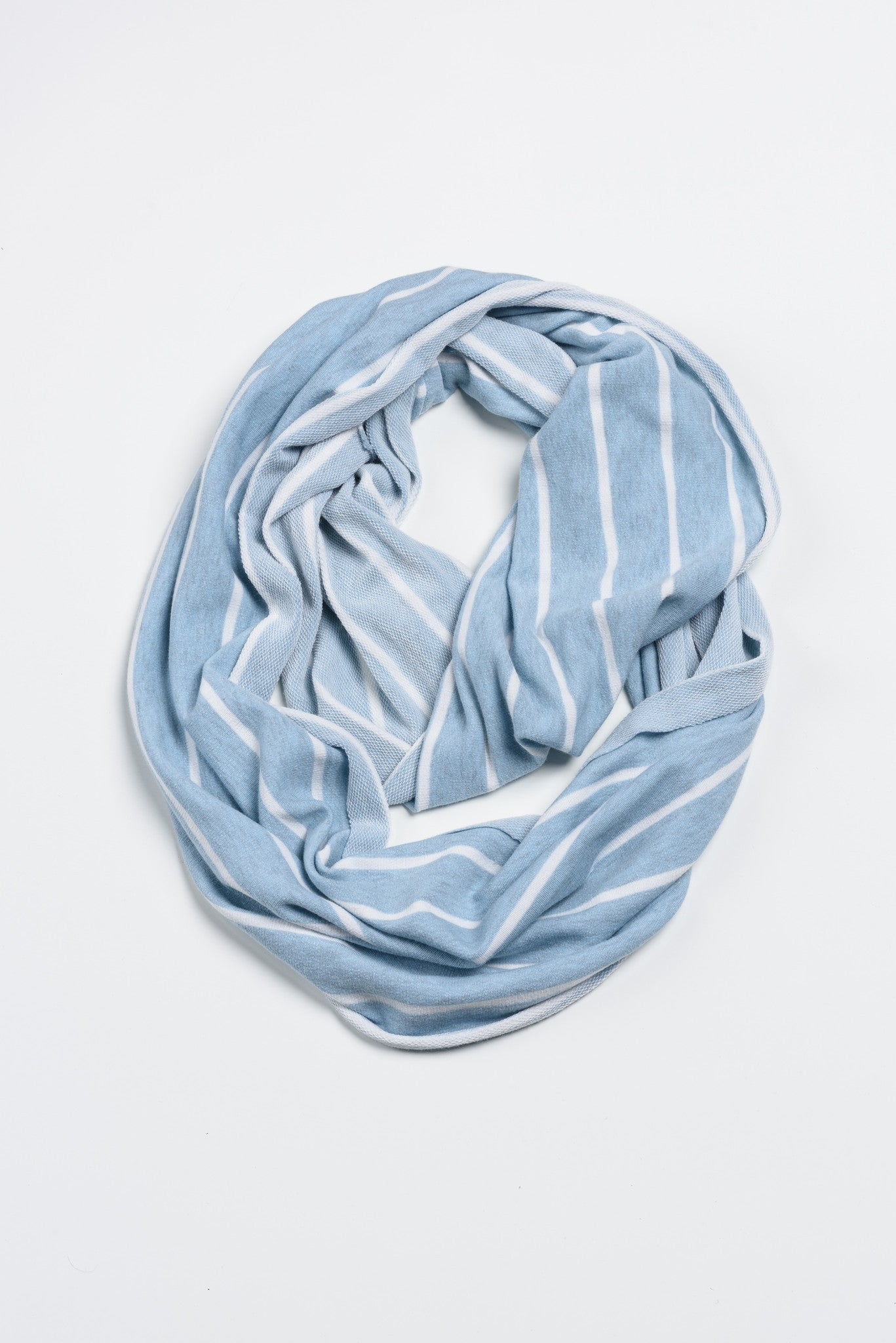 Plush Blue + White Stripes Infinity - FLYING SCARFS