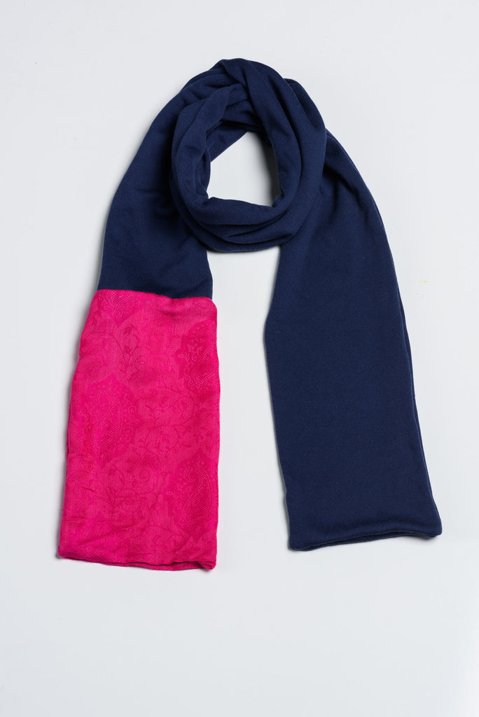 Handmade Navy and Pink with Afghan Pashmina