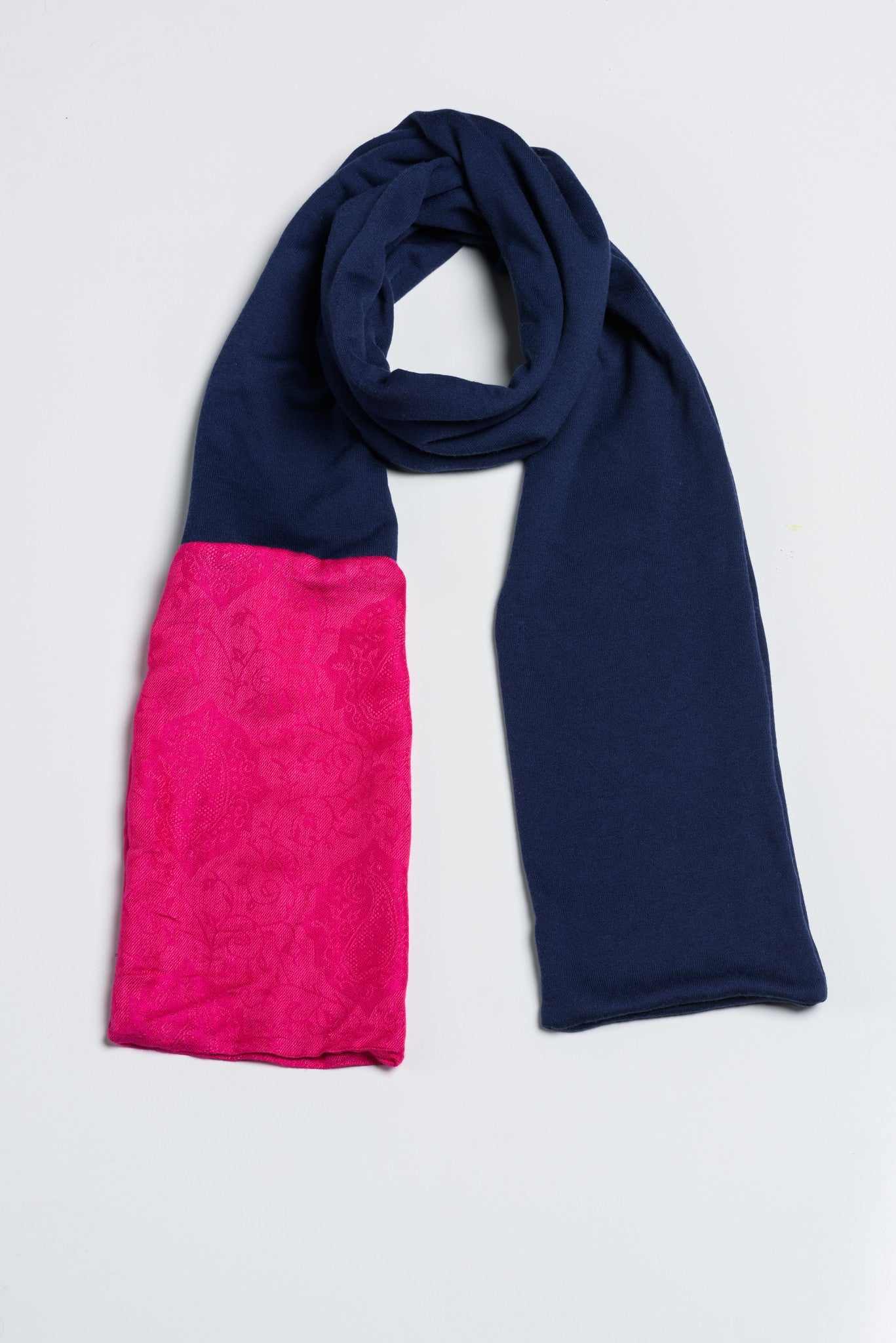 Handmade Navy and Pink with Afghan Pashmina - FLYING SCARFS