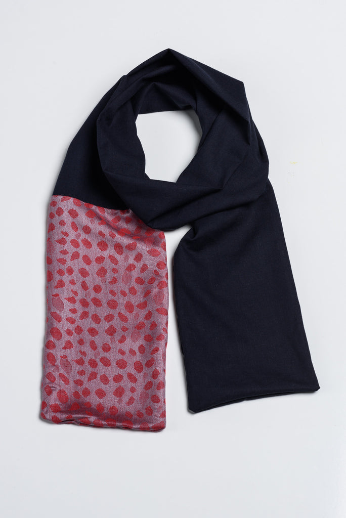 Handmade Navy and Red with Afghan Pashmina
