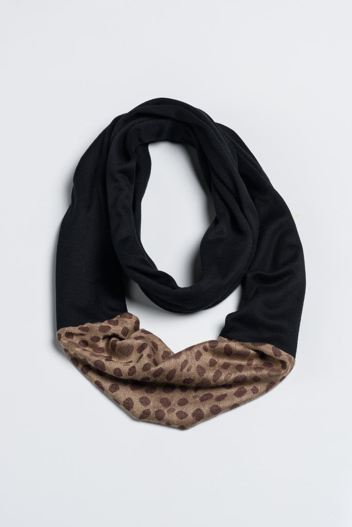 Handmade Black and Leopard Infinity with Afghan Pashmina