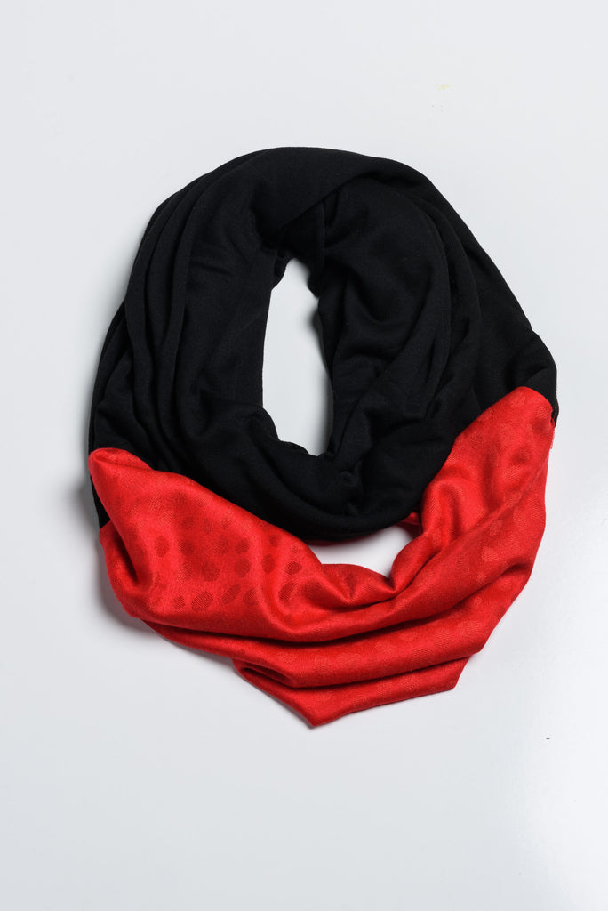 Handmade Black and Red Infinity with Afghan Pashmina