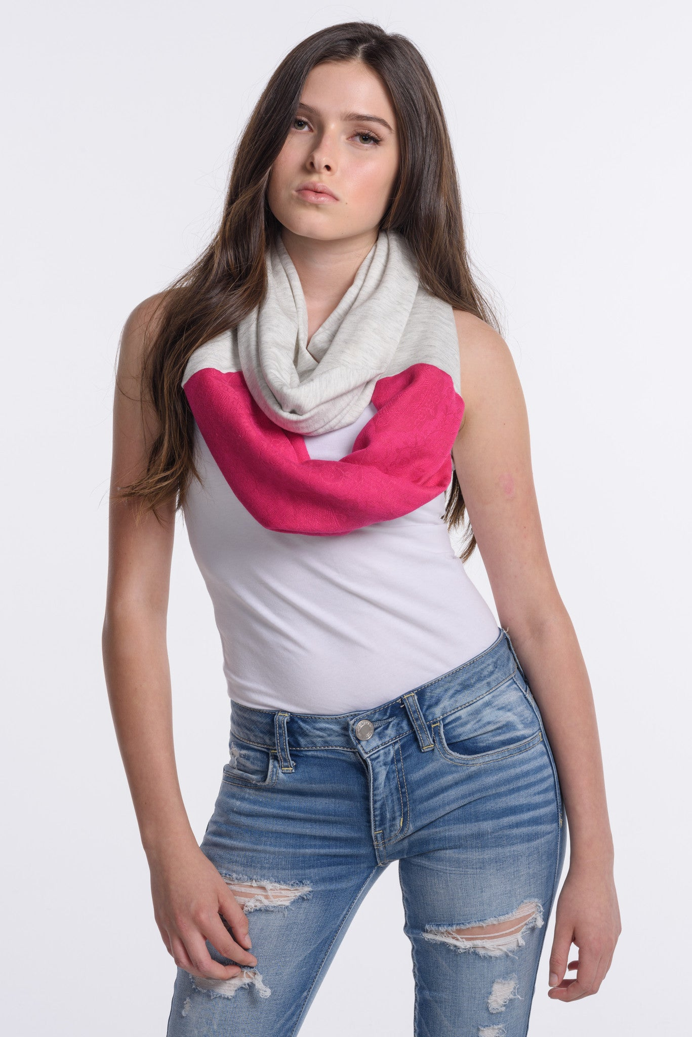 Handmade Pink and Light Gray Infinity with Afghan Pashmina - FLYING SCARFS