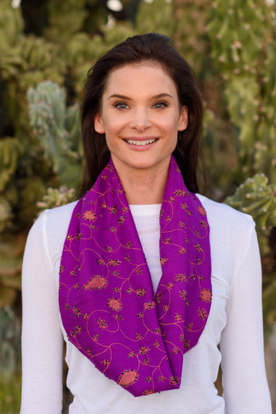 Handmade Afghan Beaded Purple - FLYING SCARFS