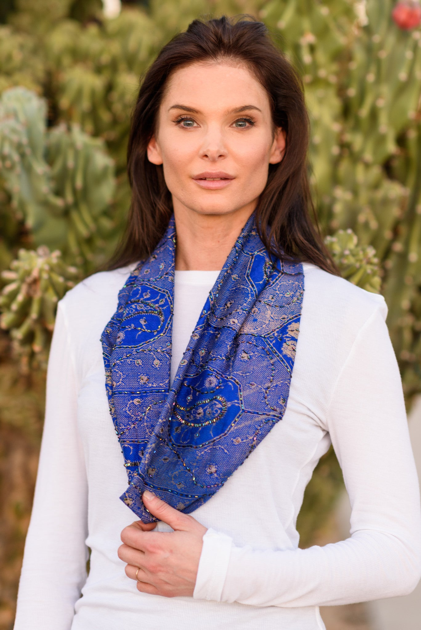 Handmade Afghan Beaded Blue - FLYING SCARFS