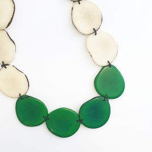 Slice adjustable tagua nut necklace in a combination of green and white