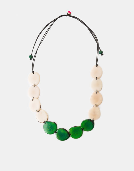Green/White Medellin Tagua Slice Adjustable Necklace - Pretty Pink Jewellery