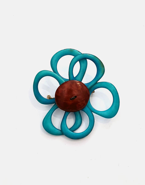 Blue Flower Brooch - Pretty Pink Jewellery