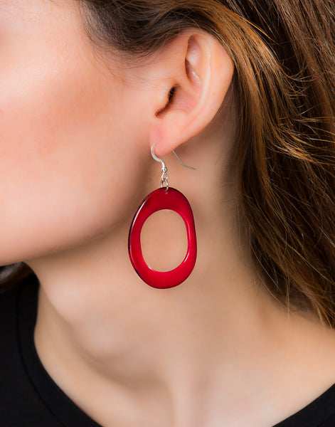 Red Loop Tagua Nut Earring - Pretty Pink Jewellery