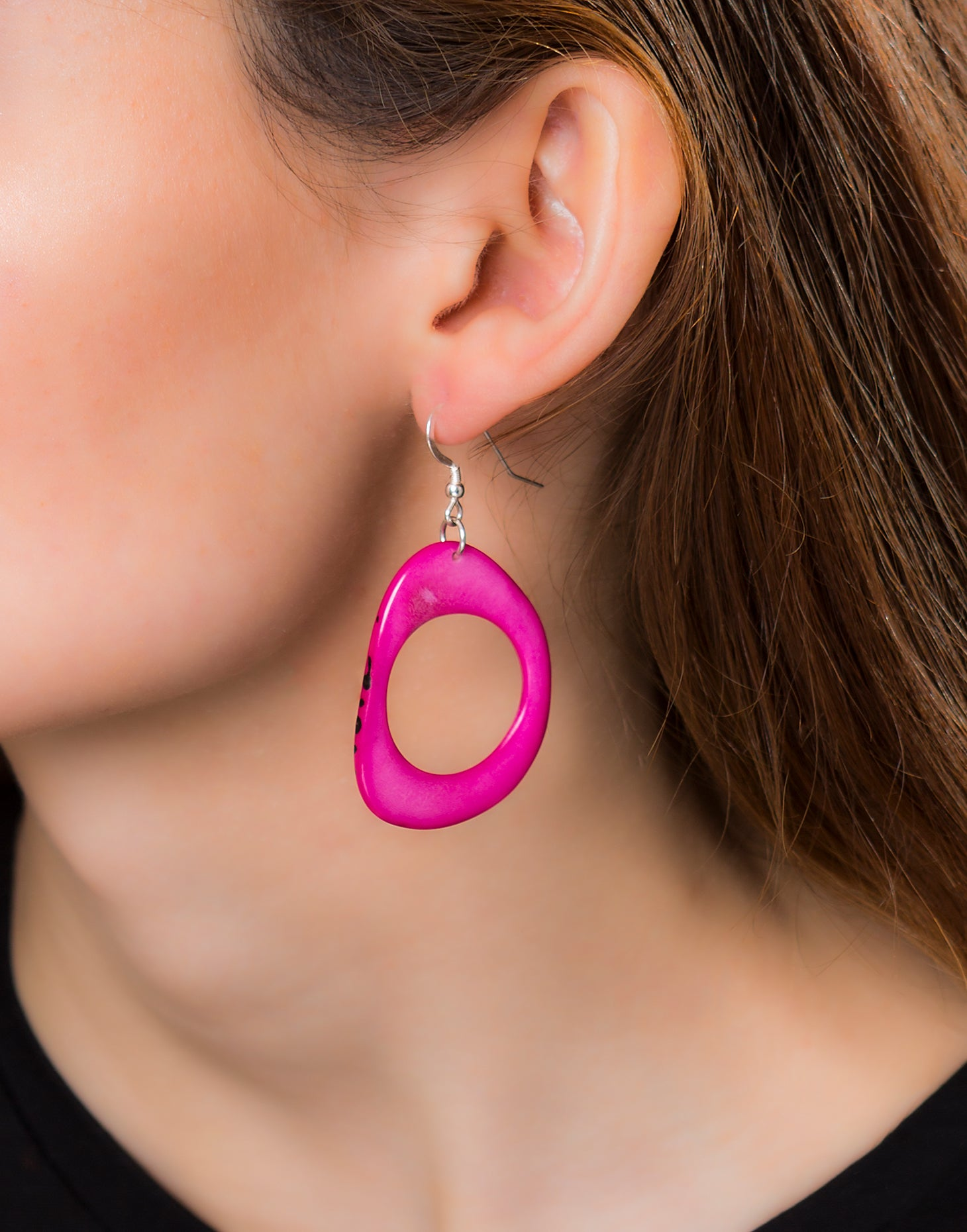 Pink Loop Tagua Nut Earring - Pretty Pink Jewellery