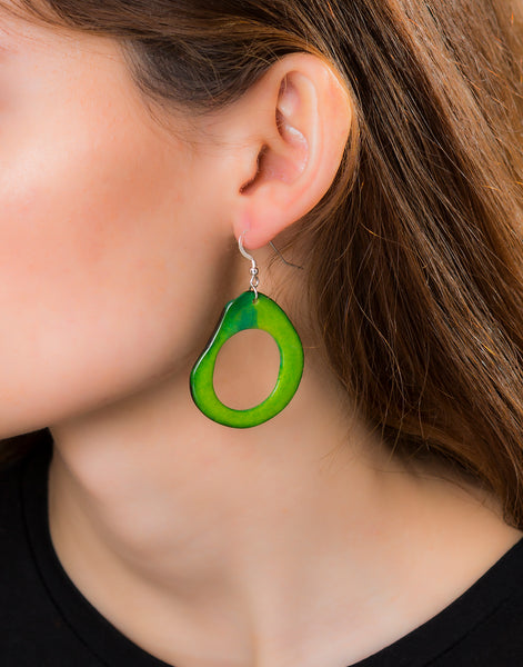 Green Loop Tagua Nut Earring - Pretty Pink Jewellery
