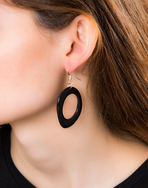 Black Loop Tagua Nut Earring - Pretty Pink Jewellery