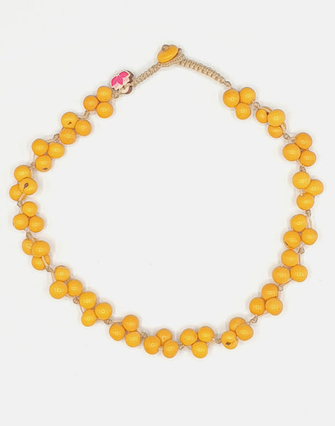 Yellow Acai Berry Short Necklace - Pretty Pink Jewellery