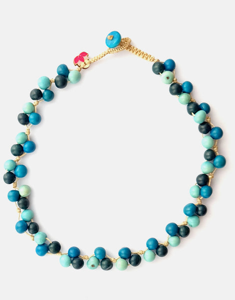 Mix Blue Acai Berry Short Necklace - Pretty Pink Jewellery