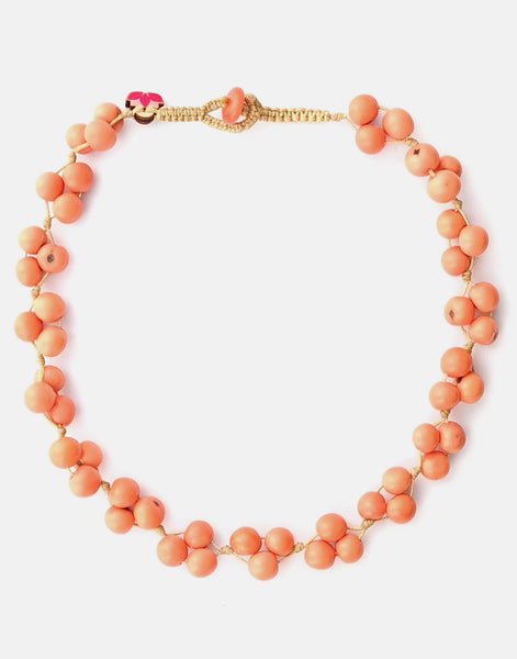 Peachy Acai Berry Short Necklace - Pretty Pink Jewellery