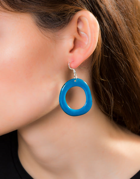 Turquoise Loop Tagua Nut Earring - Pretty Pink Jewellery