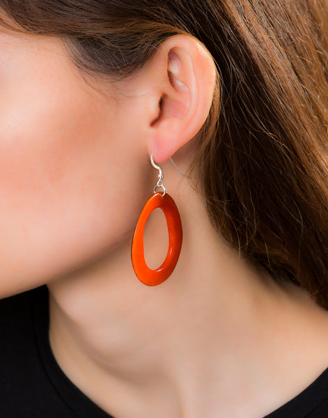 Orange Loop Tagua Nut Earring - Pretty Pink Jewellery