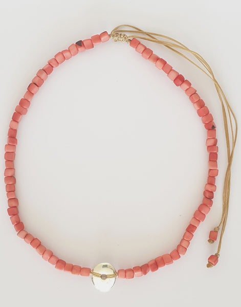 Coral Leticia Mini Square Tagua Nut Necklace - Pretty Pink Jewellery