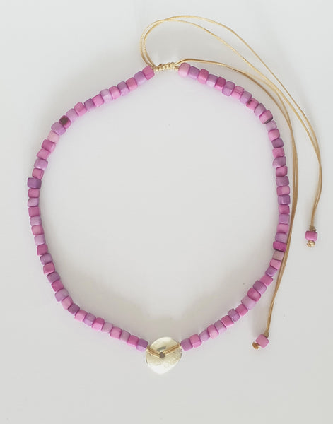 Purple Leticia Mini Square Tagua Nut Necklace - Pretty Pink Jewellery
