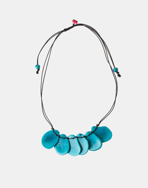 Blue Bogota Tagua Slices Adjustable Necklace - Pretty Pink Jewellery