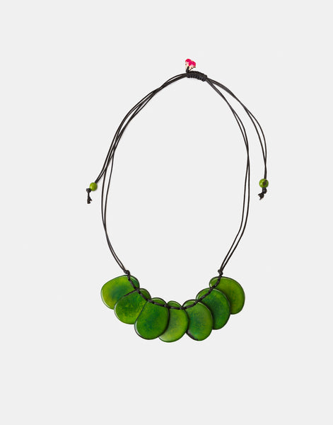 Green Bogota Tagua Slices Adjustable Necklace - Pretty Pink Jewellery