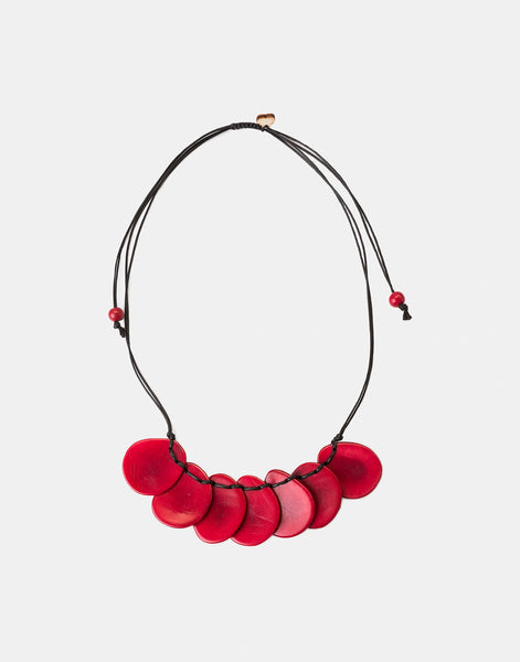Red Bogota Tagua Slices Adjustable Necklace - Pretty Pink Jewellery