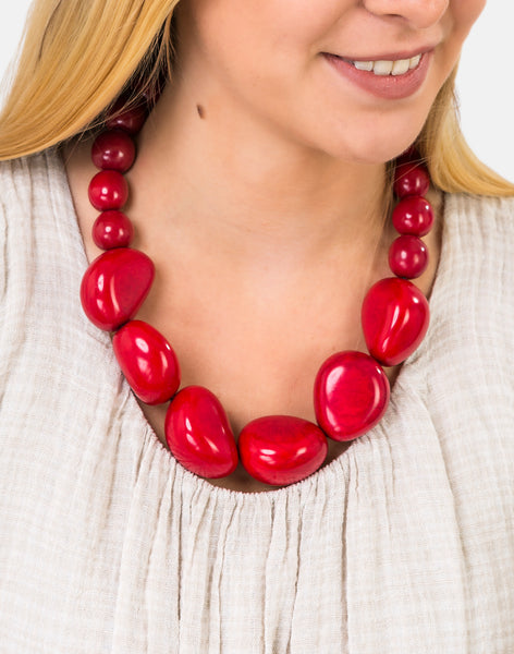 Red Organico Necklace - Pretty Pink Jewellery