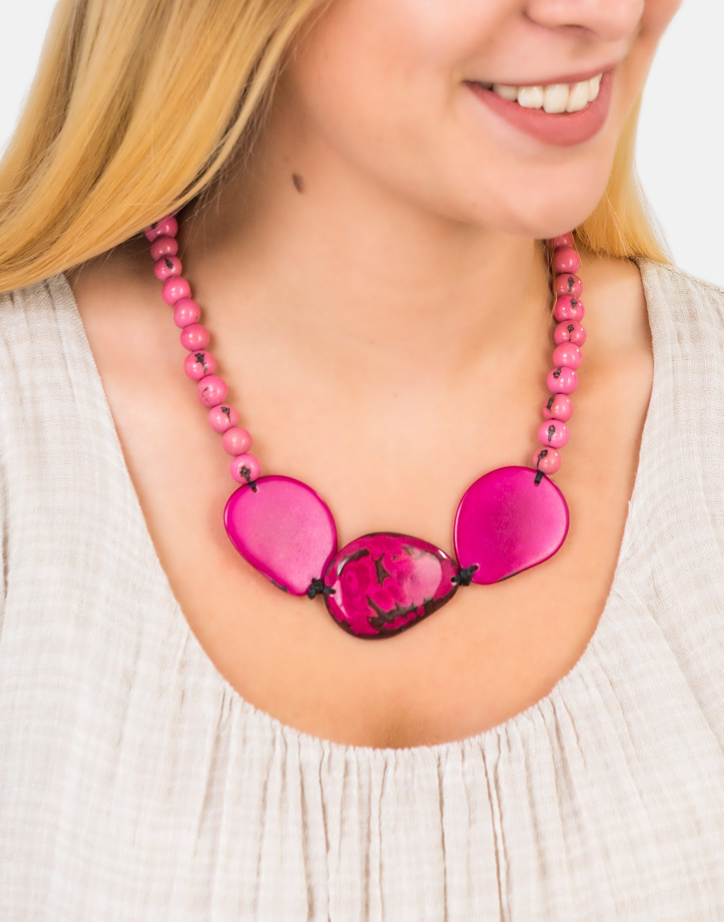 Pink Trio Marble Slice Adjustable Necklace - Pretty Pink Jewellery