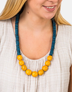 Denim Blue/Yellow Rio Bolota Necklace - Pretty Pink Jewellery
