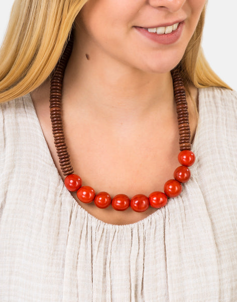 Brown/Orange Rio Bolota Necklace - Pretty Pink Jewellery