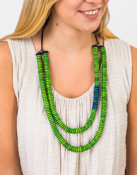 Green/Denim Blue Rio Double Necklace - Pretty Pink Jewellery
