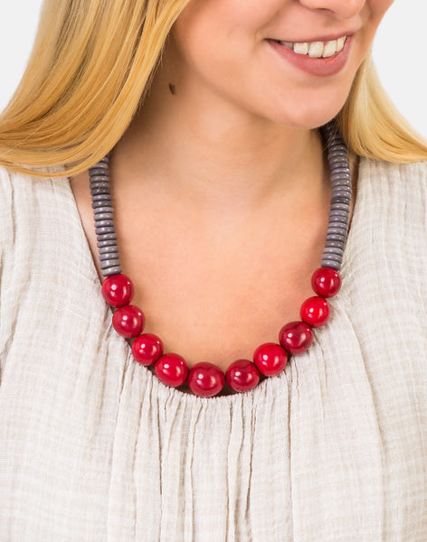 Grey/Red Rio Bolota Necklace - Pretty Pink Jewellery