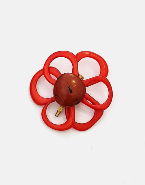 Red Flower Brooch - Pretty Pink Jewellery
