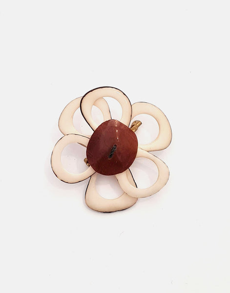 Ivory Flower Brooch - Pretty Pink Jewellery