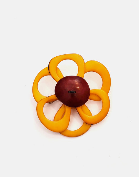Yellow Flower Brooch - Pretty Pink Jewellery