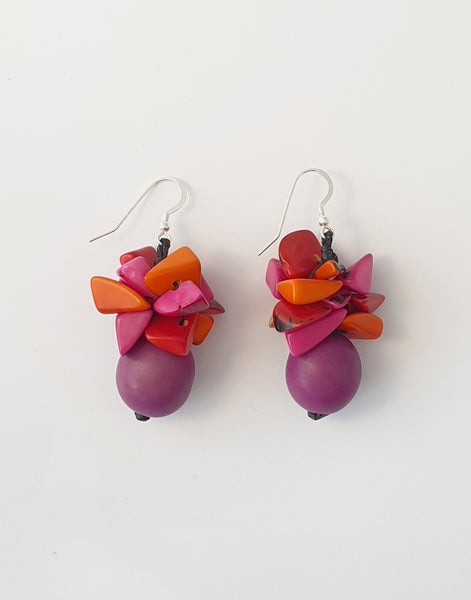 Magenta & Mix Red Tapajos Bombona Earring - Pretty Pink Jewellery