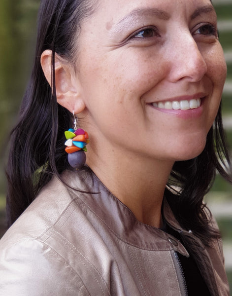 Grey & Multicoloured Tapajos Bombona Earring - Pretty Pink Jewellery