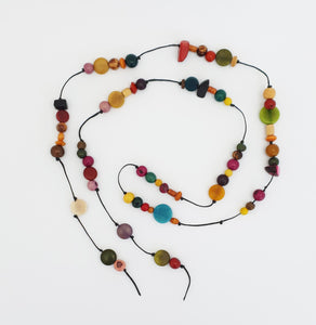 Lariat Eco-Necklace Multicoloured - Pretty Pink Jewellery