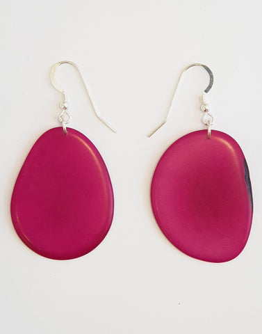 Folha Tagua Nut Earrings - Pretty Pink Jewellery