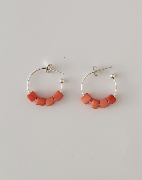 Coral Leticia Mini Square Tagua Nut Earrings - Pretty Pink Jewellery