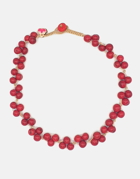 Red Acai Berry Short Necklace - Pretty Pink Jewellery