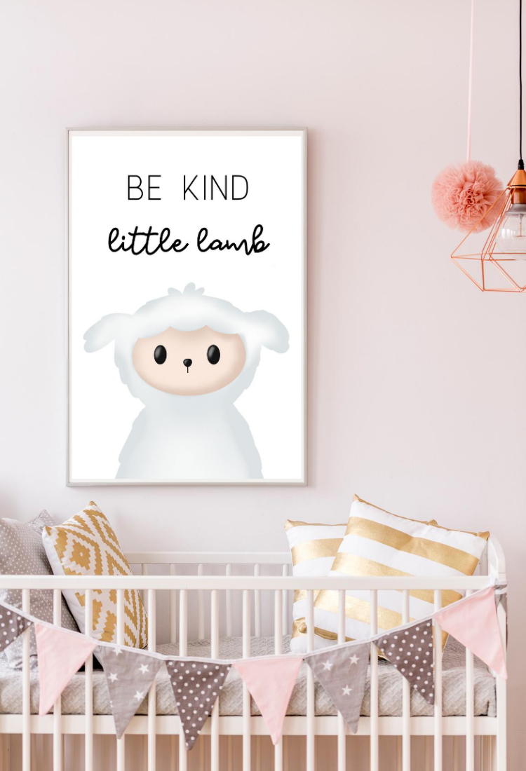 Be Kind Little Lamb Woodland Farm Animal Wall Decor Digital Art Print