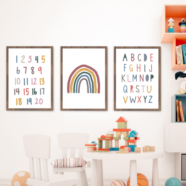Let's Start with the Basics Trio- Rainbow, Alphabet and Numbers - Matte Rainbow Colors