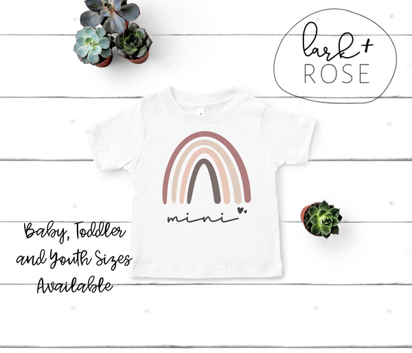 Rainbow Mini Baby Jersey Short Sleeve Tee | Dusty Rose and Browns, Shirt for Baby, Mommy and Me