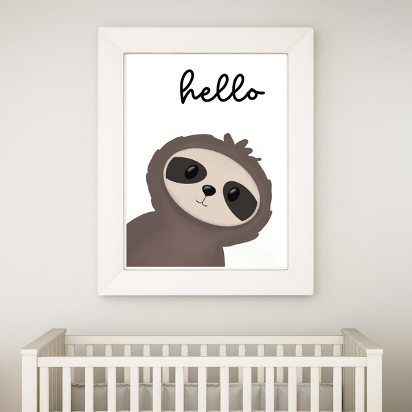 Hello Little Sloth - Digital Art Print