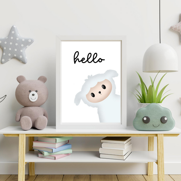 little lamb nursery and children digital wall art print_gender neutral