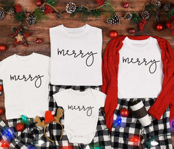 Merry T-shirt | Matching Shirts, Family Tee, Christmas Pajama Shirts