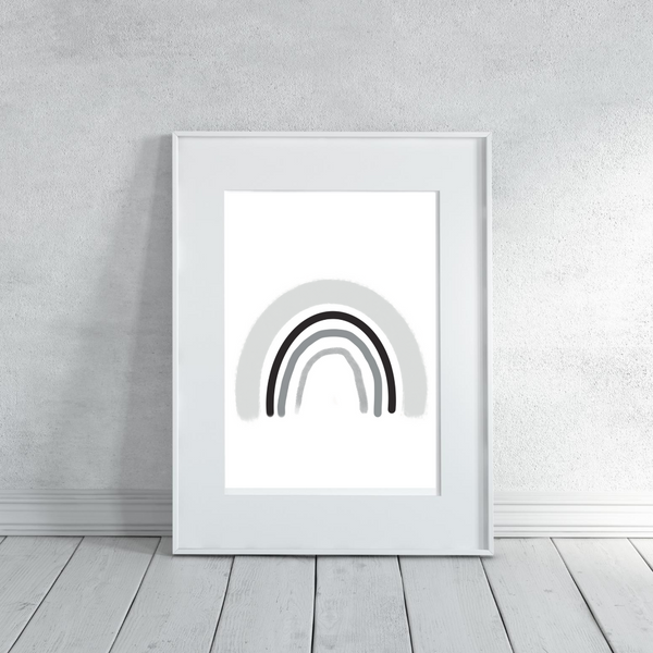 Rainbow Neutral Grey - Digital Art Print