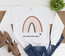 Rainbow Mama Sweatshirt | Mommy and Me Sweater, Dusty Rose and Tan Rainbow, Multiple Colors, Mommy and Me, Mama gift, Super Soft Sweater