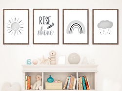 Rise and Shine Collection - Set of 4 Digital Art Prints -Grey/Neutral Colors